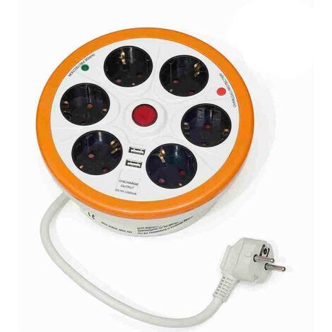 Regleta 6 Enchufes Schuko y 2 USB Circular con Recogecables 1,5m Blanco y Naranja 7hSevenOn Elec