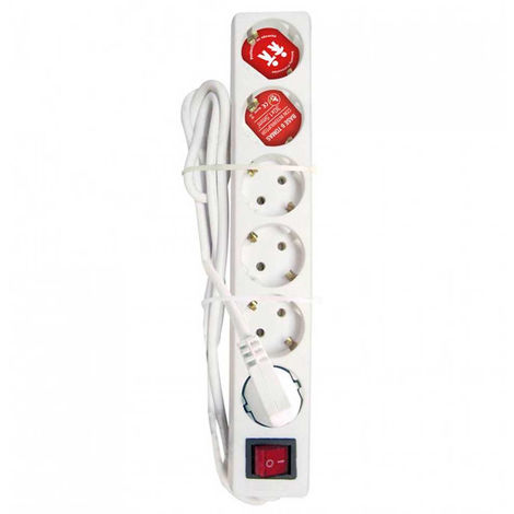 Regleta 6 Tomas Schuko 5m Blanco con Interruptor Rojo 7hSevenOn Elec