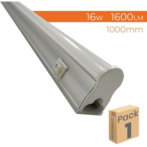 Regleta con Tubo LED T5 integrado 100cm 16W 1600LM 6500K con interruptor A++ | Blanco Frío 6500K - Pack 10 Uds. - Blanco Frío 6500K