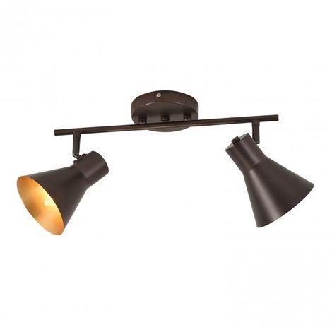 Regleta de 2 luces casquillo E14 color marrón y interior del foco dorado