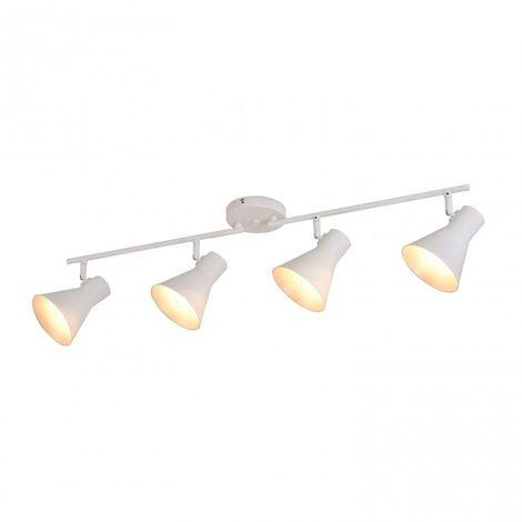 Regleta de 4 luces E14 color blanco y interior del foco plata