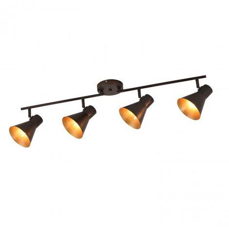 Regleta de 4 luces E14 color marrón y interior del foco dorado
