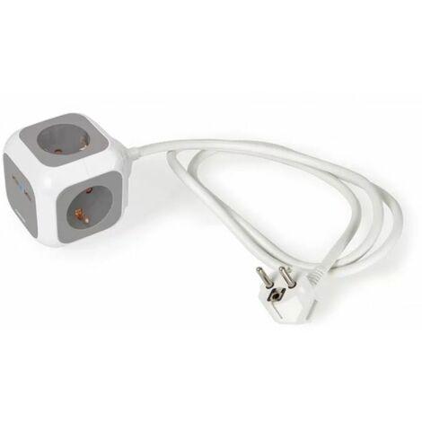 Regleta de corriente con 4 enchufes y 2 puertos USB Fonestar CUBIK-42UG