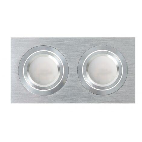 Regleta de empotrar dos focos gu10 androide gris - Aluminio