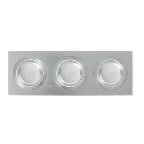Regleta de empotrar tres focos gu10 androide gris - Aluminio