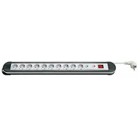 Regleta de enchufes 10 schuko con interruptor y proteccion 1.5 M Blanc