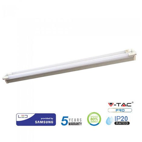 Regleta LED doble Samsung V-TAC PRO IP20 36W 120cm - Tubos LED incluidos