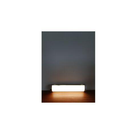 Réglette Cuisine MIA LED avec Interrupteur - Polycarbonate Blanc/Silver - Led intégrée 8W 450Lm 4000K - IP20 CLI - Directe 230V