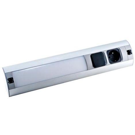 Réglette de meuble LED avec interrupteur et prise 230V AC