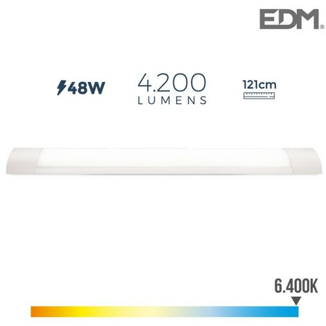 Réglette électronique led 48w 121cm 6.400k l. froide 4.200 lumens edm
