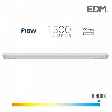 Réglette étanche led ip65 18w 1.500 lumens 6.500k l. froid edm