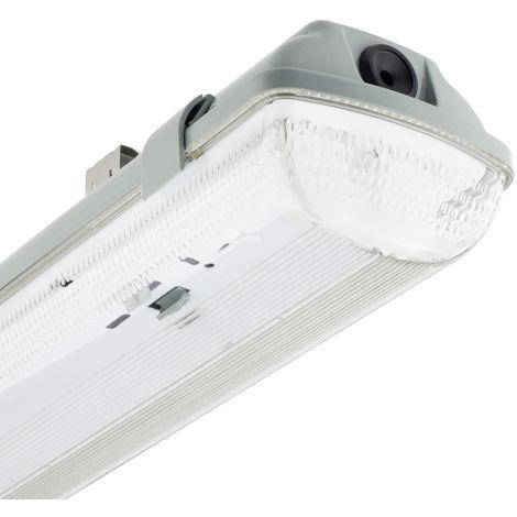 Réglette Étanche pour deux Tubes de LED 1500mm PC/PC Connexion Latérale