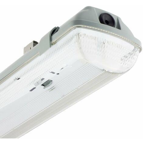 Réglette Étanche pour deux tubes LED 600mm PC/PC Connexion Latérale