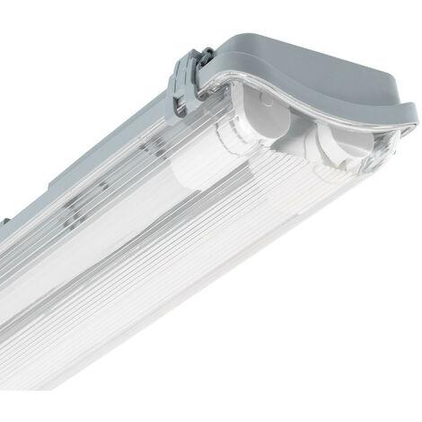 Réglette Étanche Slim pour deux Tubes LED 600mm PC/PC Connexion Latérale 600 mm