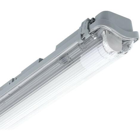 Réglette Étanche Slim pour un Tube LED 600mm PC/PC Connexion Latérale 600 mm