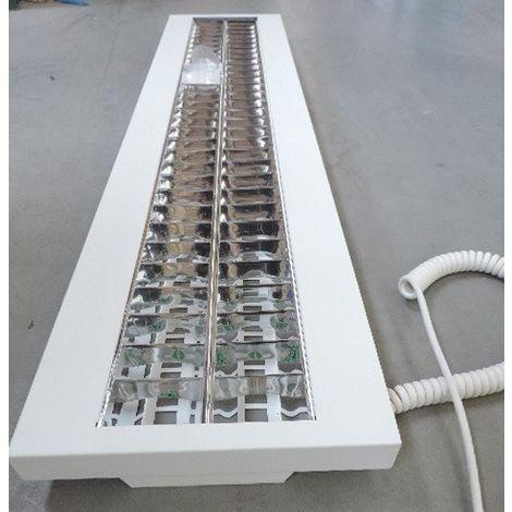 Réglette fluo suspendu 2X28W tubes T5 28W (non incl) 188x330x55mm intérieure avec câble spiralé 850° IK07 IP20 Sunlux BIMBO2X28