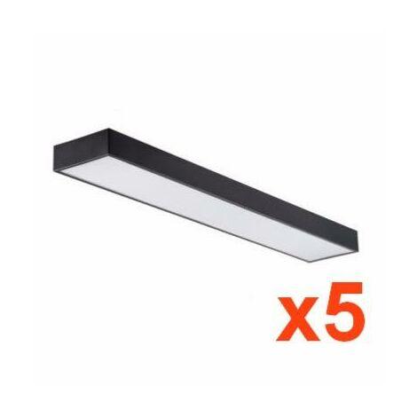 Réglette lumineuse LED 120cm 45W Suspendue NOIR (Pack de 5) - Blanc Froid 6000K - 8000K