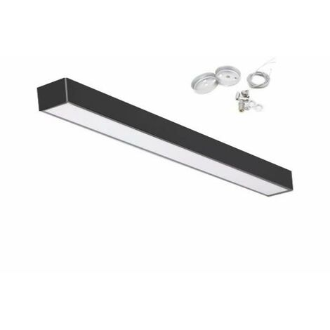 Réglette LED 120cmx5cm 48W Suspendue NOIR