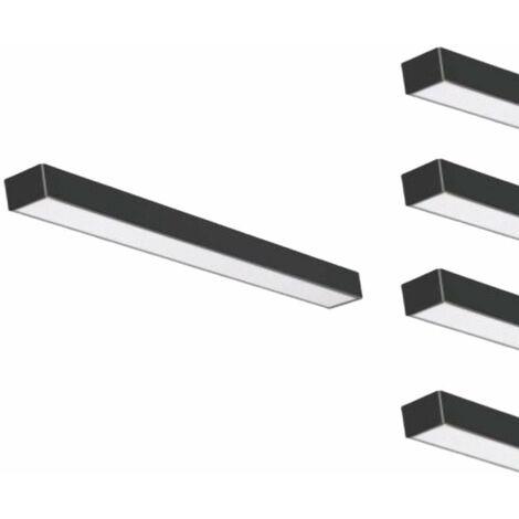 Réglette LED 120cmx5cm 48W Suspendue NOIR (Pack de 5)