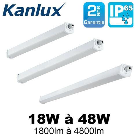 Réglette LED étanche 18W à 48W cablage traversant