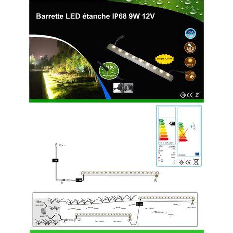 Réglette LED étanche IP68 9W 12V environnements humides