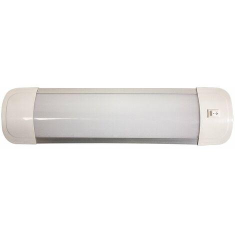 REGLETTE LED PLATE AVEC INTERRUPTEUR 30cm 9W 720LM 3000K - IP20 - Blanc