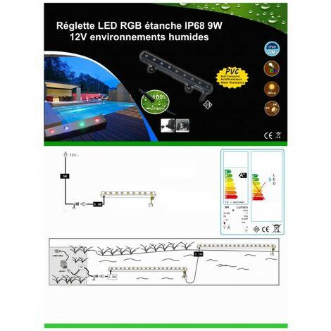Réglette LED RGB étanche IP68 9W 12V environnements humides