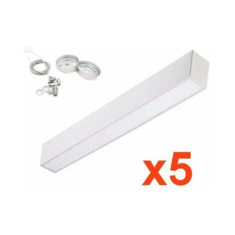 Réglette lumineuse LED 120cm 24W Suspendue ALU (Pack de 5) - Aluminium - Blanc Froid 6000K - 8000K - SILAMP