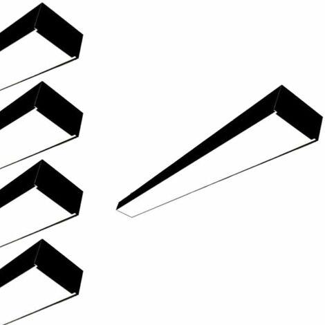 Réglette lumineuse LED 120cmx7cm 38W Suspendue NOIR (Pack de 5) - Blanc Neutre 4000K - 5500K - SILAMP