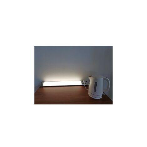 Réglette pour Cuisine EVA LED avec Interrupteur+Prise - Blanc/Silver - Led intégrée 5W 260Lm 4000K - IP20 CLI - Directe 230V