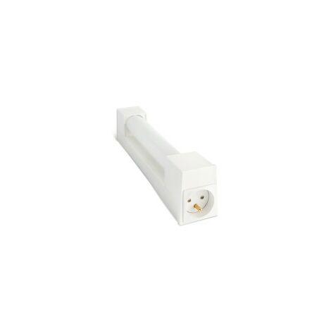 Réglette pour Salle de Bain TIM avec Interrupteur+Prise - Polycarbonate Blanc - S19 Max 75W - IP21 CLI - Connection directe 230V