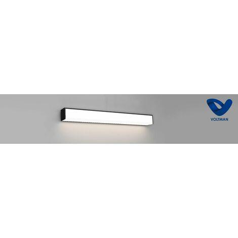 Réglette salle de bain 60cm noire - lumière naturelle - ASSER techno OPTICARE™ - VOLTMAN - IP44 18W 4000K 1250Lm - Noir