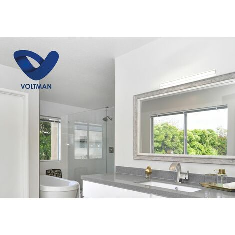 Réglette salle de bain 90cm chrome & blanc - lumière naturelle - PILA - techno OPTICARE™ - VOLTMAN - IP44 12W 4000K 900Lm - Blanc