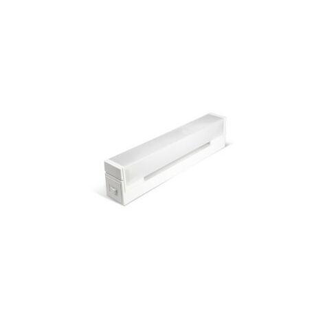 Réglette Salle de Bain KARL avec Interrupteur+Prise - Polycarbonate Blanc - inclus S19 Fluo 13W 680Lm 2700K - IP21 CLI