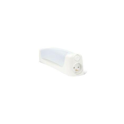 Réglette Salle de Bain LENN avec Interrupteur+Prise - Polycarbonate Blanc - S19 Led 6W 600Lm 2700K - IP21 CLI - Directe 230V