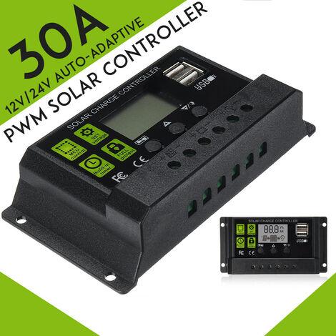 Regulador del cargador de batería del regulador del panel solar 10-30A 12V / 24V PWM con doble (solo controlador 1PC 30A)