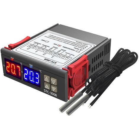 Regulador digital de temperatura del termostato, con doble sonda NTC,12V