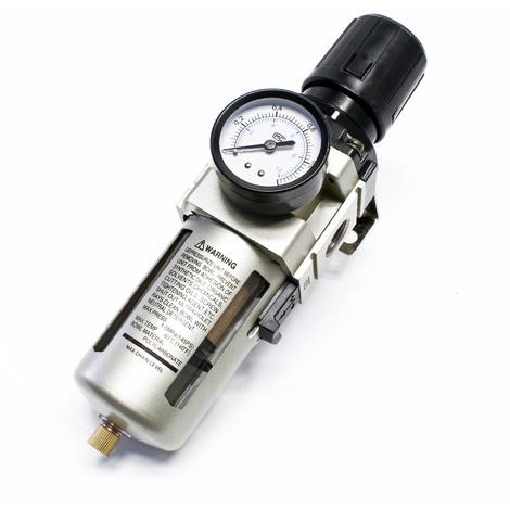 """Regulador presión con filtro manómetro 20,67 mm separador agua (1/2"""") rosca hembra"""