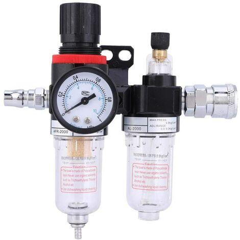 """Régulateur de pression du filtre à air 1/4"""" Séparateur d'eau de l'huile Filtre à air Compresseur d'air Filtre du compresseur d'air avec coupe du lubrificateur pour système (AFC2000)"""