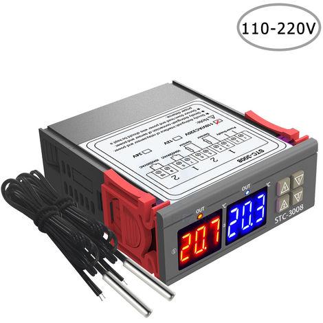Regulateur De Temperature, Avec Sonde Double Ntc, Sortie A Deux Relais 110-220V