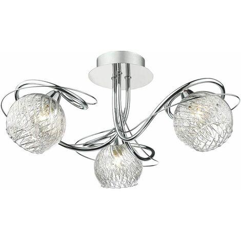 Rehan ceiling light polished chrome and glass 3 lights