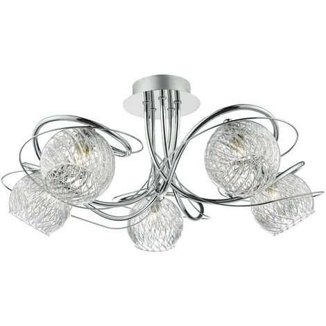 Rehan ceiling light polished chrome and glass 5 lights