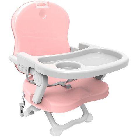 Rehausseur Bébé, Réhausseur de chaise pour enfant, Rose, Hauteur: 38/42/46/50 cm