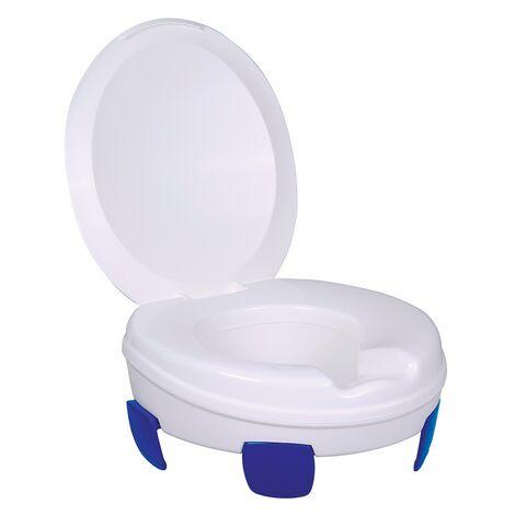 Rehausseur WC avec couvercle Clipper III - 41 cm - Blanc et bleu