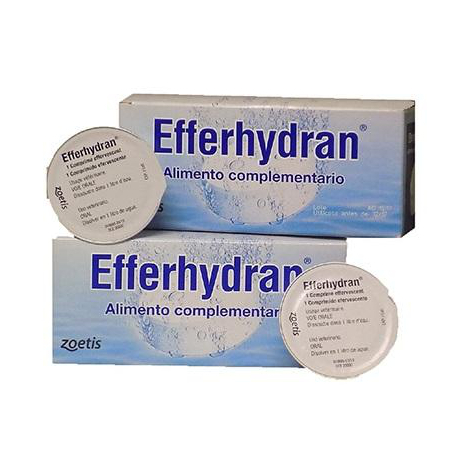 Rehidratante para animales EFFERHYDRAN en comprimidos efervescentes - Caja 8 uds
