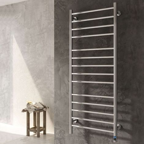 Reina Arnage Straight Stainless Steel Heated Towel Rail 800mm H x 500mm W Polished Electric Only