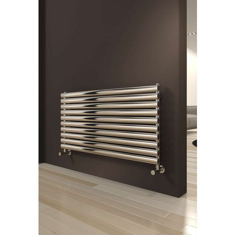 Reina Artena Stainless Steel Polished Horizontal Designer Radiator 590mm x 1000mm Single Panel Central Heating