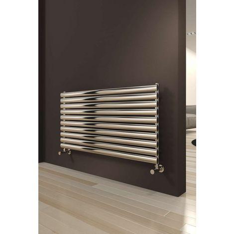 Reina Artena Stainless Steel Polished Horizontal Designer Radiator 590mm x 800mm Single Panel Central Heating