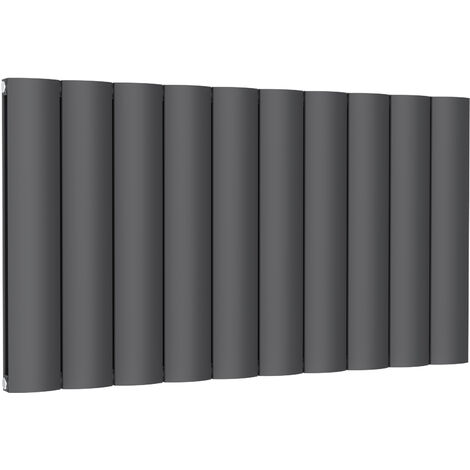 Reina Belva Aluminium Anthracite Double Panel Horizontal Designer Radiator 600mm x 1036mm Dual Fuel Thermostatic