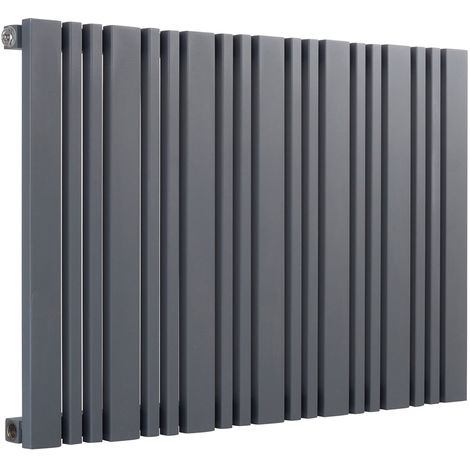 Reina Bonera Anthracite Horizontal Designer Radiators 550mm x 1248mm Single Panel Duel Fuel - Thermostatic